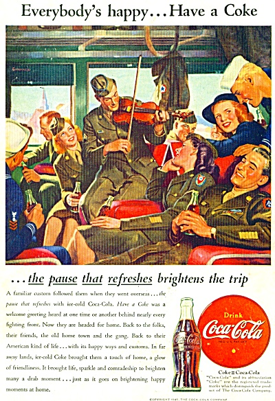 1946 COCA COLA COKE SOLDIERS COMING HOME AD (Image1)