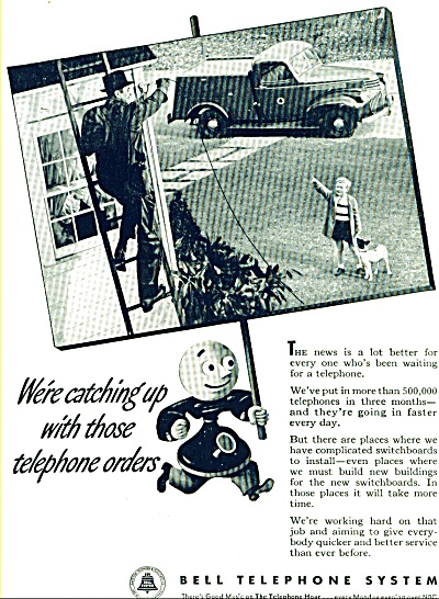 1946 Bell Telephone LINEMAN Wiring Catch AD (Image1)