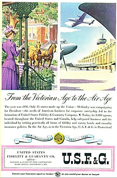 1946 U.S.F. & G AD STUNNING ARTWORK (Image1)