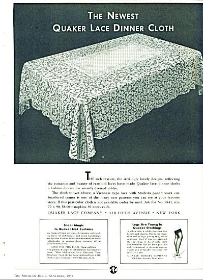 Quaker Lace Company ad - Nov. 1938 (Image1)