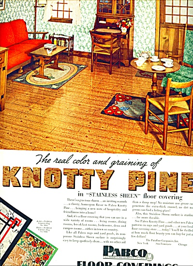 1938 Pabco Knotty Pine Floor Covering AD (Image1)