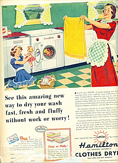 1949 Hamilton Clothes Dryer AD ARTWORK (Image1)