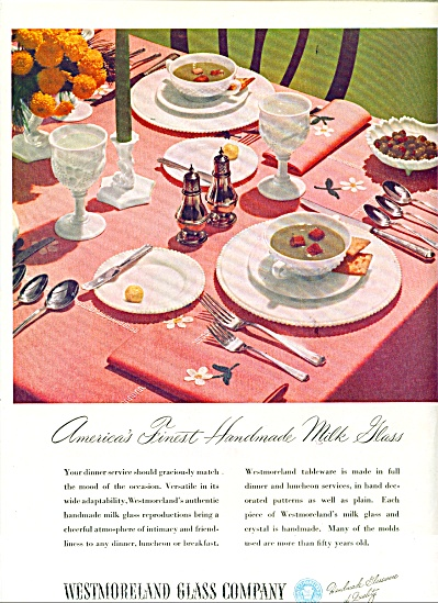 1947 Westmoreland Glass AD Handmade MILK (Image1)