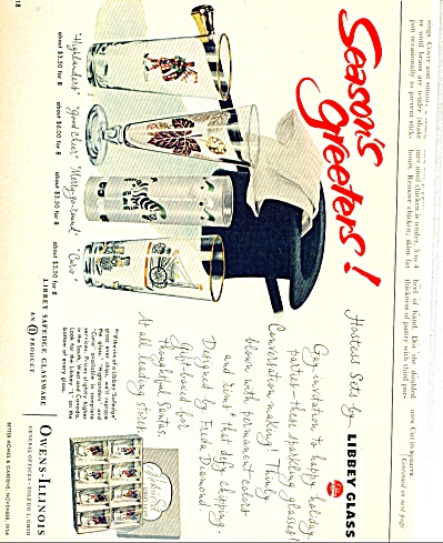 1954 LIBBEY Glass AD Highlander Good Cheer ++ (Image1)