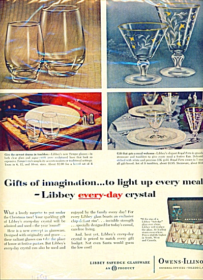 1954 Libbey Glass Ad Tempo - Royal Fern