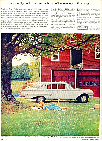 1960 Pretty Girl Red Barn Chevrolet Ad CHEVY #2 (Image1)
