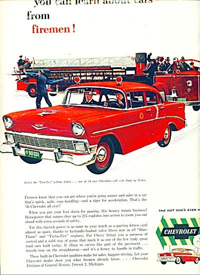 1956 Chevrolet FIREMEN Firetruck CAR Truck AD (Image1)