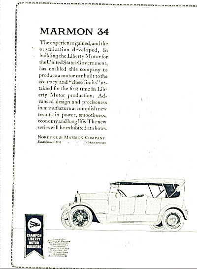1920 Nordyke Marmon 34 Car automobile AD (Image1)