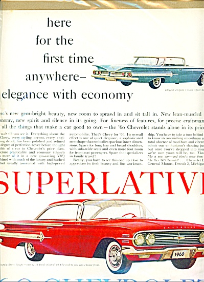 1960 Impala CHEVY Sports Coupe Superlative Ad Lg Size (Image1)