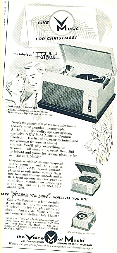 1957 Vm The Voice Of Music Phonograph Ad