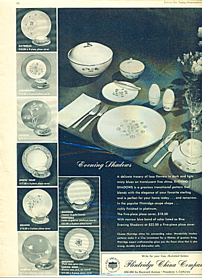 Flintridge China Company ad -  1957 (Image1)