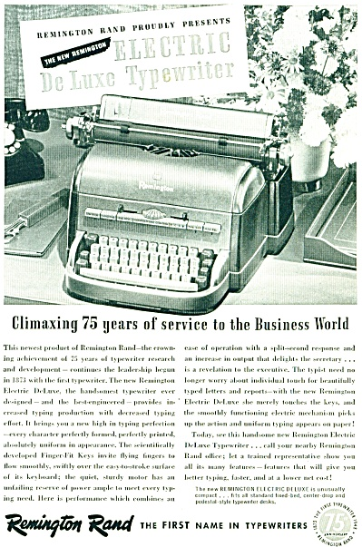 Remington Rand typewriter ad - 1948 (Image1)