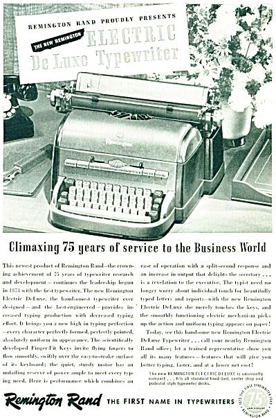 Remington Rand typewriter ad - 1948 (Image1)