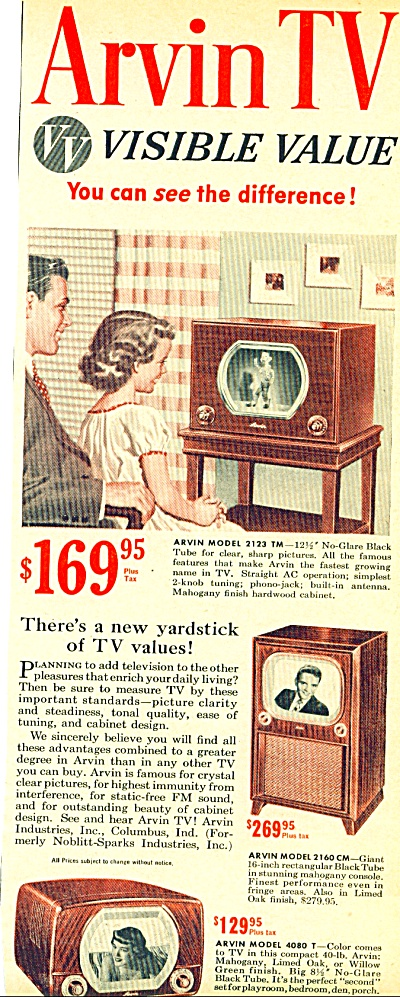 Arvin Tv Ad - 1950