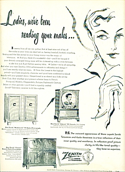 1950 Zenith Radio - Television AD LADIES MALE (Image1)