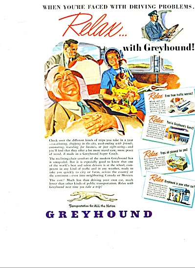1948  GREYHOUND BUS AD Art SIP (Image1)