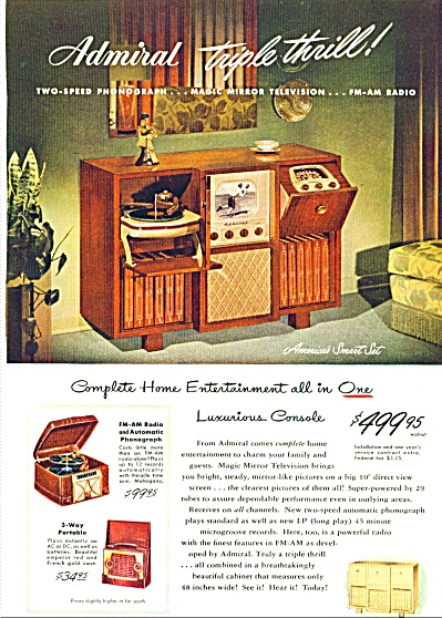 1948 Admiral Triple Thrill Tv Phono Radio Ad