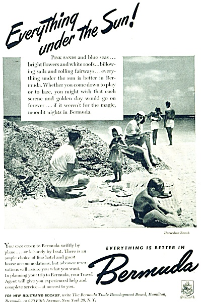 1948 Bermuda Travel AD Family  Horseshoe Beac (Image1)