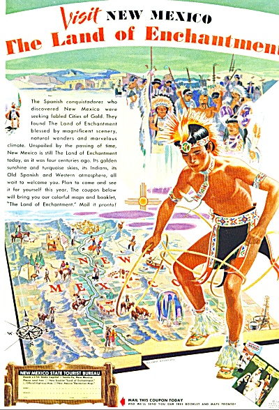 1948 Visit New Mexico AD WILLARD Andrews ART (Image1)