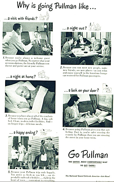 1948 Go PULLMAN TRAIN AD Family Travels (Image1)