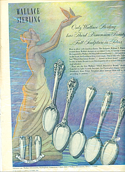 1948 Wallace Sterling Silverware Ad Patterns Baroque