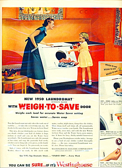 1950 Westinghouse Laundromat Washer AD Girl (Image1)