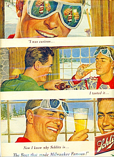 1950 Schlitz Beer Ad Curious Skiing Theme