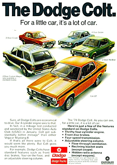 1974 DODGE COLT COLOR AD 5 MODELS -ITS A LOT (Image1)