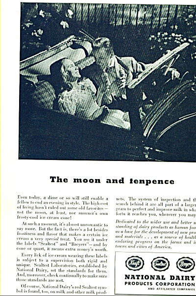 1946 National DAIRY AD Couple in Car MOON (Image1)