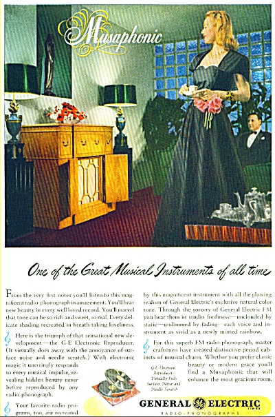 1946 Ge General Electric Musaphonic Ad Radio