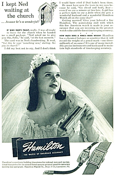 1946 Hamilton Watch ad BRIDE at CHURCH (Image1)