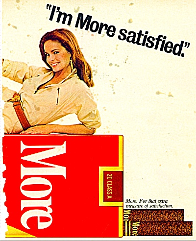 1970's More Cigarettes Ad Cute Brunette