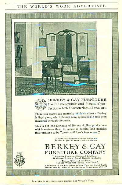 1917 Berkey & Gay Furniture AD Vintage design (Image1)
