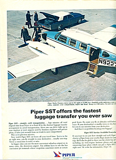 1969 PIPER Aircraft AIRPLANE SST AD Original (Image1)