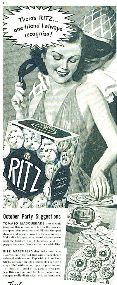 1937 RITZ  National Biscuit AD MASQUERADE ART (Image1)