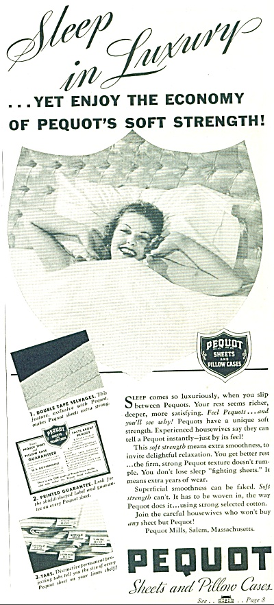1937 Pequot LINEN AD lady in Bed Luxury (Image1)