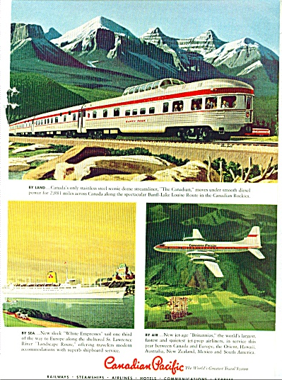 1958 Canadian Pacific  railroad ad TRAIN (Image1)
