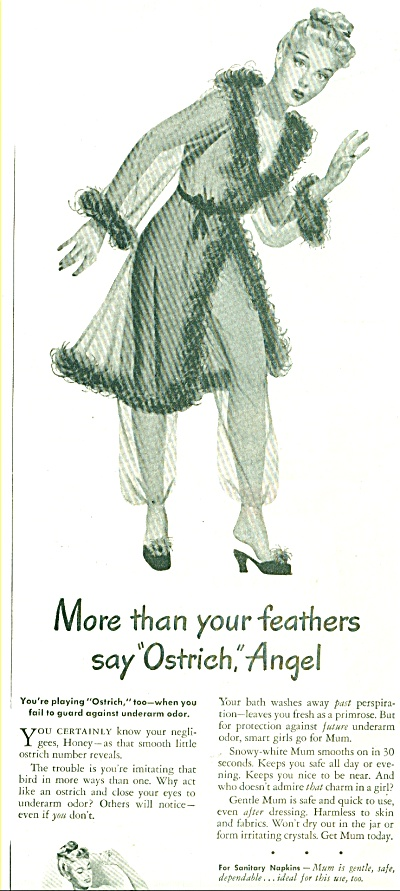 1946 Mum deodorant ad PIN UP GIRL ART (Image1)