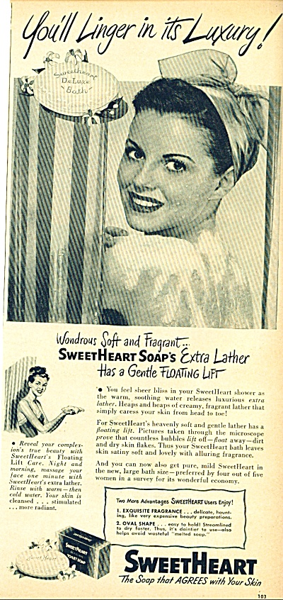 1948 Sweetheart SOAP AD Woman in Shower (Image1)