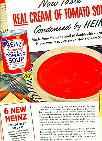 Heinz Cream of Tomato soup ad - 1943 (Image1)