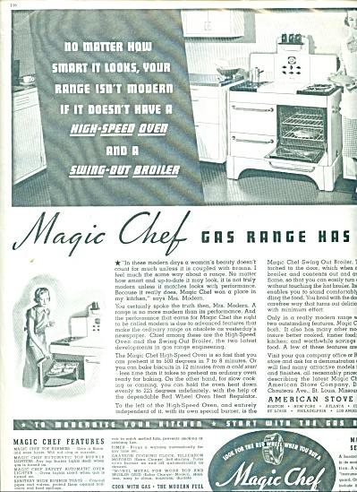 Magic Chef Gas range ad - 1937 (Image1)