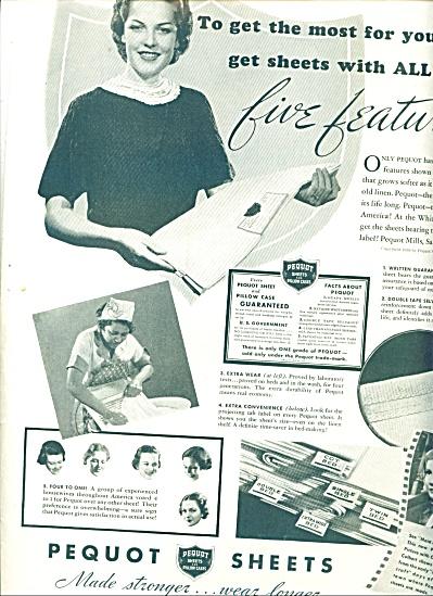 1937 Pequot Mills Sheets  Linens AD (Image1)