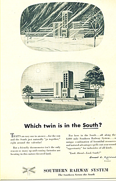 1951 Southern Railway Train AD TWIN IN SOUTH (Image1)