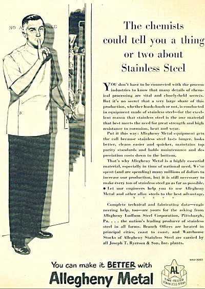 1951 Allegheny Metal AD CHEMIST Artwork SSSHH (Image1)