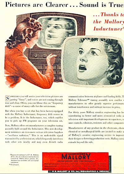 Mallory Industry co. ad - 1951 Inductuner (Image1)