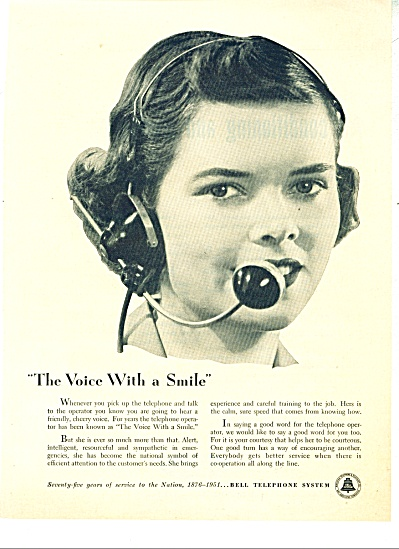 1951 Bell Telephone OPERATOR SMILES Phone AD (Image1)