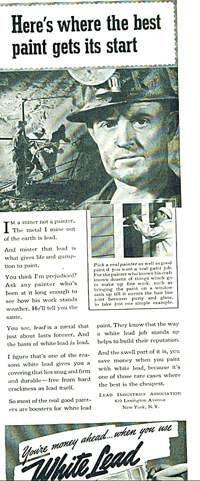 1939 WHITE LEAD PAINT AD - Underground MINER (Image1)