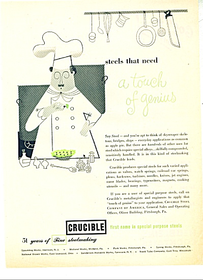 1951 Crucible Steels AD CHEF GENIUS ARTWORK (Image1)