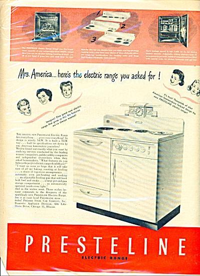Presteline electric range - ad  1946 (Image1)
