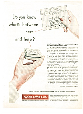 1951 PARKE DAVIS & CO Doctor's RX Drug AD (Image1)